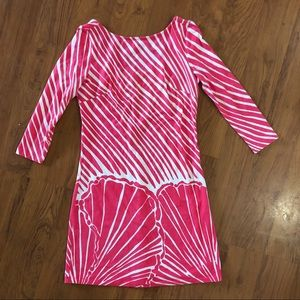 Lilly pulitzer pink & white striped shell dress